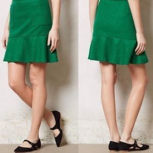 Anthropologie Maeve Emerald Green Flounce Skirt